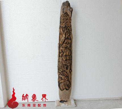 泰国手工艺品 东南亚装饰品专业供应商 -老柚木大象浮雕摆件 竖款